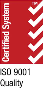 Certified System ISO 9001 Quality Logo Red and White